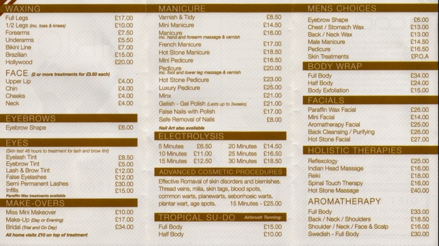 Siriol Health And Beauty Ammanford Treatments Price List
